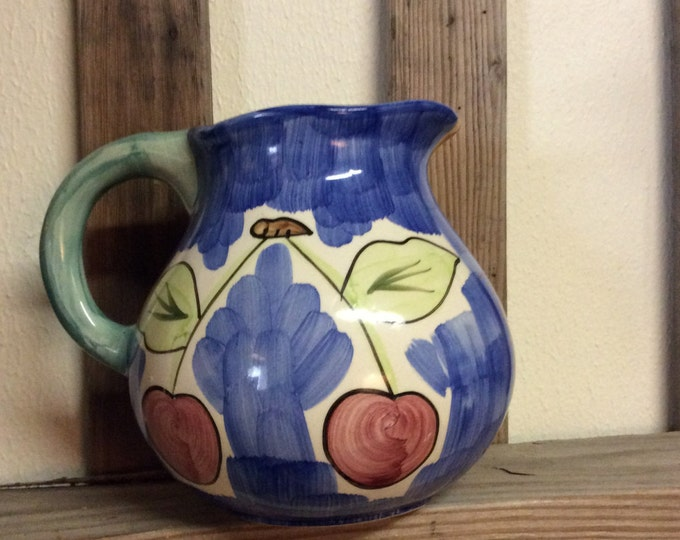 Vintage Guyroc China Pitcher, grapes and cherries, colorful hand painted, vintage water pitcher, Guyroc pitcher, colorful pitcher,