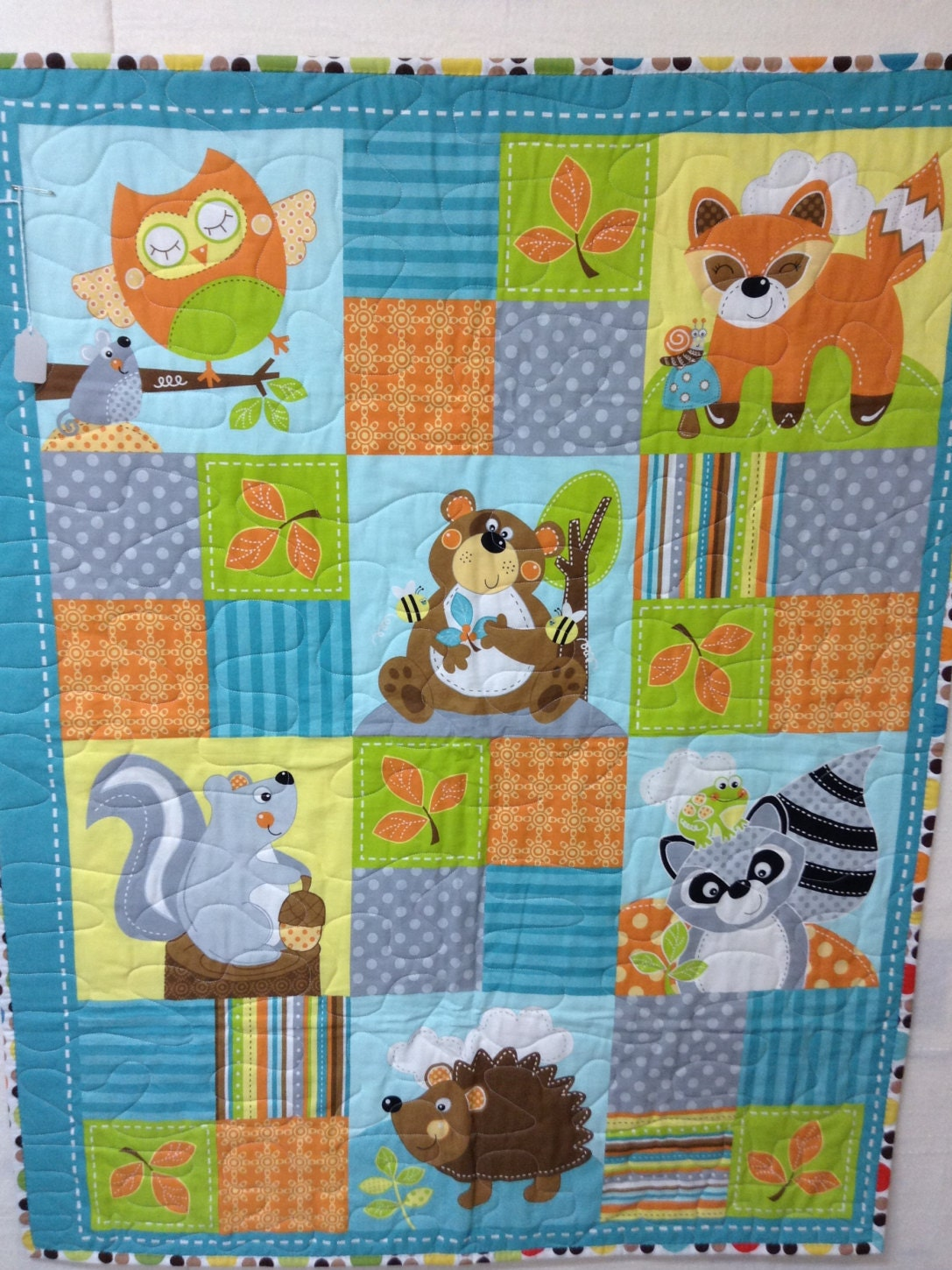 Woodland Whimsy Teal Panel Baby Quilt