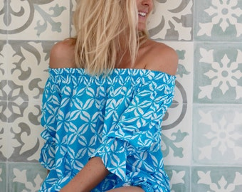 Ladies Off Shoulder Beach Top - The Sabrina Top in Aqua and Pink with Frilled Hemline