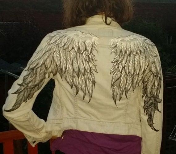 Angel Wings Woman S Denim Jacket Hand Painted
