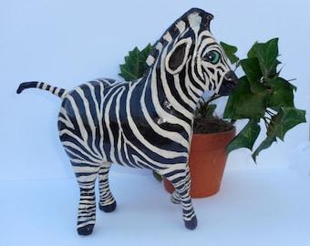 Whimsical Paper Mache Clay Zebra Sculpture - Zumi the Zebra