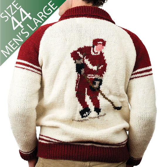 Mens Large Ugly Sweater Mary Maxim Hockey by CampKitschyKnits