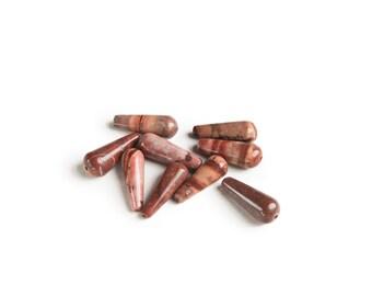 Red Jasper Tear Drop Beads (16x6mm)