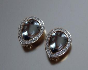 Vintage Swarovski SAL DSCo Earrings Clip-Ons, Grey Crystal Clear Rhinestones Teardrop Earrings, Swarovski Earrings, Estate Jewelry