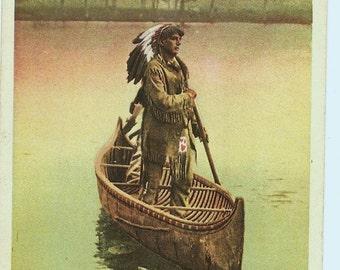 Antique Phostint Postcard Native American Indian Canoe Hiawatha's Arrival, 1904 American Indian Detroit Postcard, Paper Ephemera