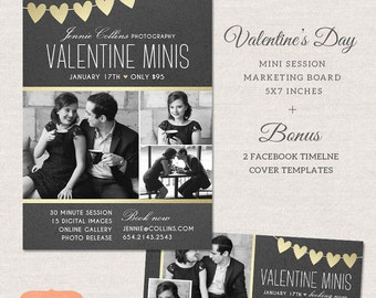 Valentine Mini Session, Photography Marketing Board, Valentine Facebook Timeline Cover, Photoshop Template for photographers MV005
