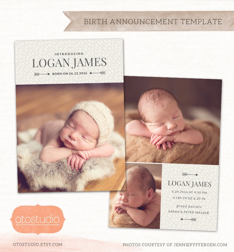 birth announcement card template customizable photo card. Black Bedroom Furniture Sets. Home Design Ideas
