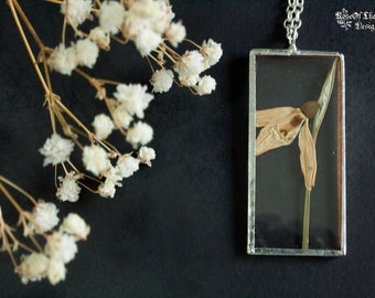 Snowdrop necklace. Pressed flower necklace. Soldered glass pendant. Real flower jewelry. Snowdrop jewelry. Nature inspired