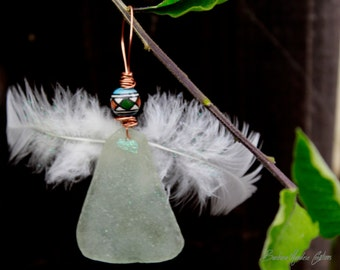 Seaglass Angel, real feathers Ornament