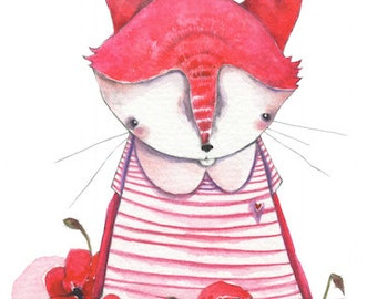 Poppy - the pink flower fox, 5 x 7 inch print of a watercolor illustration