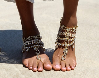 Ladies Gold Rhinestone Barefoot Sandals for Beach Brides on their Beach Weddings, Barefoot Shoes. Style 'Castles'