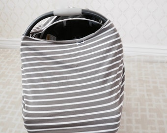 Grey & White Striped Car Seat/Nursing Cover