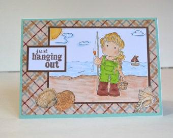 Just Hanging Out - Handmade Greeting Card - Fishing Girl Stamped Image, Ocean Fishing