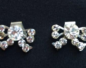 Rhinestone Diamond Shoe Clips Bows Pair Wedding