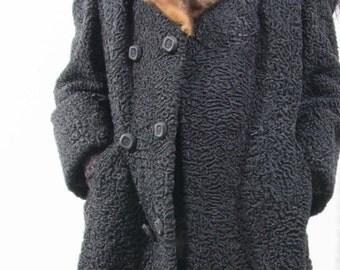 Black Persian Lamb Real Mink Fur Coat Collar Stroller Length SWING Style German M-L