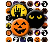 Happy Halloween - Digital Collage Sheet  - 1 inch Round Circles - INSTANT DOWNLOAD
