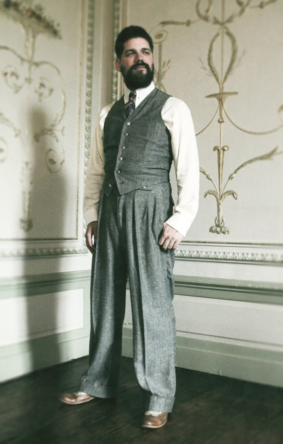 1930s Style Men's Pants Tweed mens trousers in 1930s style high draped pants made to order vintage style mens trousers $334.10 AT vintagedancer.com