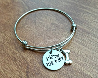SALE-Fur Baby- Personalized Hand Stamped Stainless Steel Expandable Bangle Bracelet