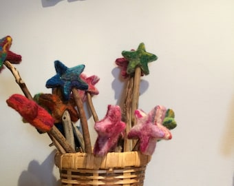 Fairy wand - Needle felted wool - Natural and ecofriendly