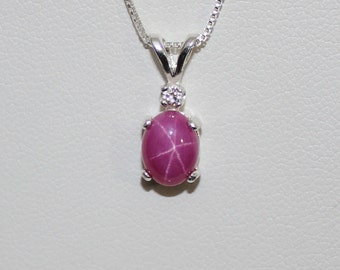 1.9 ct Star Ruby Pendant / Necklace with White Sapphire Accent Sterling Silver FREE CHAIN