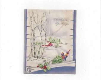 1950s Vintage Christmas Greeting Card with Glitter, Tree Cutting, Snow, Signed, Vintage Greeting Card, Vintage Christmas Card, Ephemera