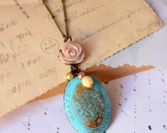 Blue Locket necklace with light pink rose on Antique bronze chain vintage Floral Patterns Carved Two pictures family gift for her