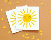 Happy Sun Mini Gift Cards, Small Note Cards, Gift Giving Cards, Thank You Note Cards, Sunny Yellow Card, Pack of 6