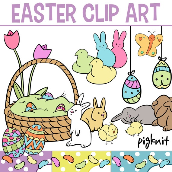Cute Easter Clip Art Easter Shapes Bunny Clip Art by pigknit Easter Clip Art Free Cute