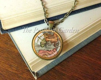 VINTAGE MAP PENDANT Old World Map Necklace Cartography Pendant Map Geographer Gift Jewelry Travelers Gift Map Lovers Gift