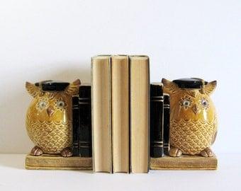 Vintage Owl Bookends - Ceramic Owls Googly Eyes - Graduating Owl Figurines - Made in Japan - Bookshelf Decor - Graduation Gift - Dorm Room