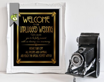 Welcome to our unplugged Wedding Sign, Black & Gold, art deco 4 sizes, instant download, DIY printable, no cameras, cell phones, AD5