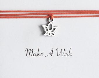 Make A Wish Lotus Bracelet - Bohemian Jewellery, Friendship Bracelet, Boho Style, Flower Charm, Yoga Gift