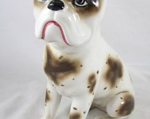 Bulldog Figurine Ceramic Made in Italy Hand Painted Vintage