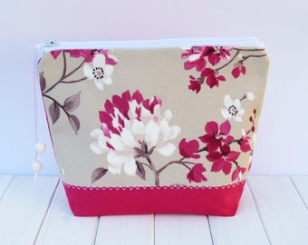 Makeup bag with cherry blossom   – zipper pouch, travel bag, cosmetic bag, cherry blossom fabric, flowers, magenta