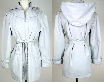 Vintage periwinkle coat, hooded rain resistant light weight jacket, Large