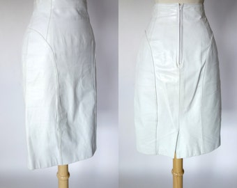 1980s white leather skirt, high waist pencil skirt, Byrnes and Baker, new wave, rocker, XS