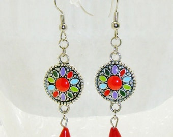 Beautiful Colorful Silver Round Circle With Red Dangling Teardrop Bead Earrings