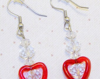 Crystal Beaded Valentine Red Heart Earrings. Crystal Earrings, Heart Jewelry,  Dangling Heart Earrings
