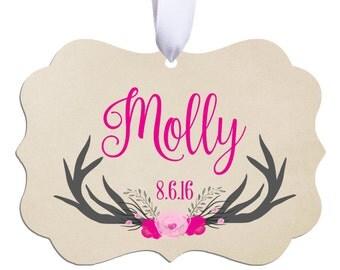 Baby Ornament, Personalized Christmas Ornament, Baby Gift, Antler Ornament, Christmas Gift, Christmas Ornament, Birth Ornament, RyElle