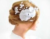 Floral headpiece  Large fascinator Bridal hair clip Fascinator headband Wedding hair accessories Hair pin