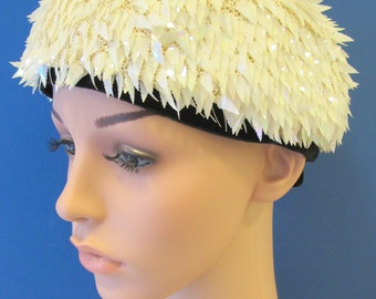 Vintage Cream and Black Pillbox Hat