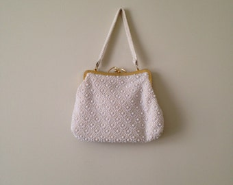 1960s MOD white flower BEADED purse embellished floral