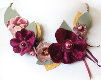 Fabric Flower Pansy Necklace, Pink and Plum Statement Necklace, Bib Necklace, Flower Jewellery, Floral Accessory, Plum Purple Bib Neckace