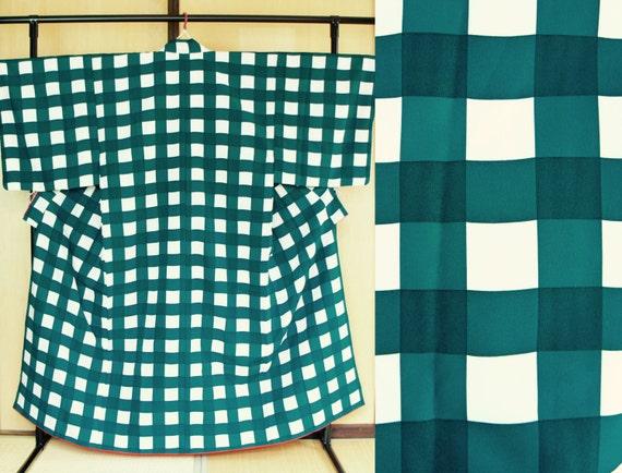 Mens kimono green check, Vintage Japanese washable kimono dark green, mens kimono grid modern polyester, unisex kimono, wafuku cosplay cool