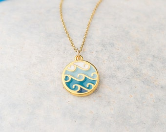 Small Round Wave Necklace inlaid with enamel Blue White Necklace Nautical   Beach Jewelry Layering necklace Circle Necklace birthday gift