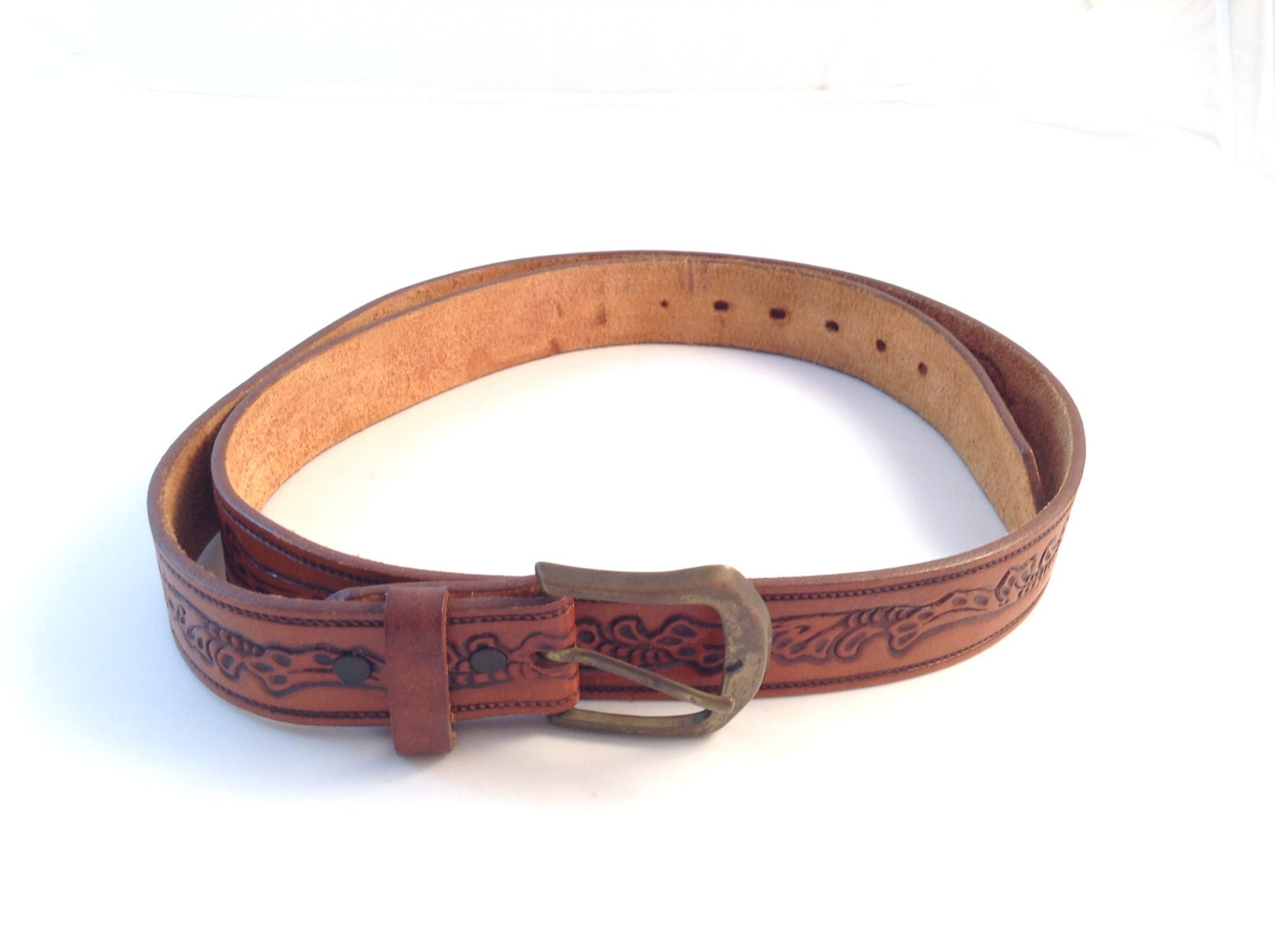 country western style leather belt by secondhandstory on etsy