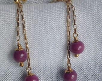 Natural Ruby Gold Drop Earrings