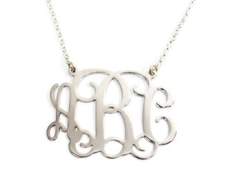 "Sterling silver monogram necklace. 0.8"" monogram necklace. Silver initial necklace. Initial monogram necklace. Monogram silver necklace."