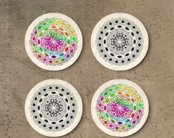 Mandala coasters, Set of round boho drink coasters, Colorful, Black and white, Holiday gift, Hostess gift, CR071