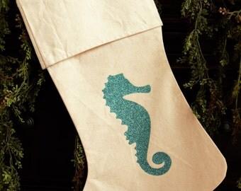 Personalized Christmas Holiday Stocking- Coastal Jute Seahorse